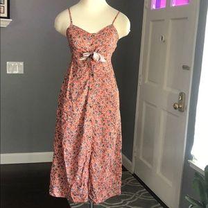 Mimi Chica Floral Button Front Tie Dress